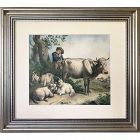 19th C. European Watercolor Painting of a Shepard W/ Animals