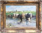Impressionist Oil Painting of Cattle by a Stream by George Wolf C. 192