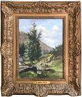 Antique Oil Painting Landscape With Cattle Henri Van Der Hecht 1899