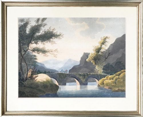 Antique 19th Century Italian Baroque Watercolor Landscape Painting