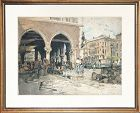 """Venice Fish Market""  Italy Etching W/ Aquatint by Luigi Kasimir"