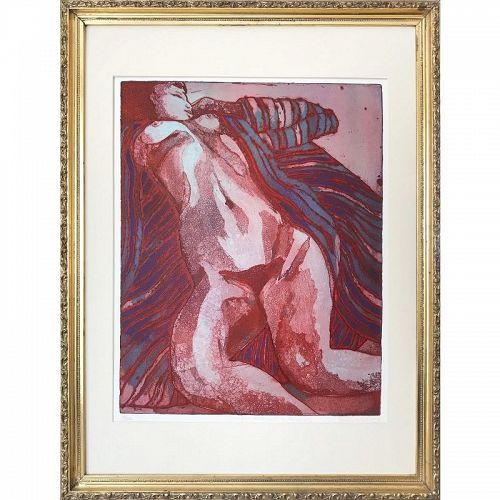 Vintage Modernist Nude Etching by Ruth Weisberg 1967