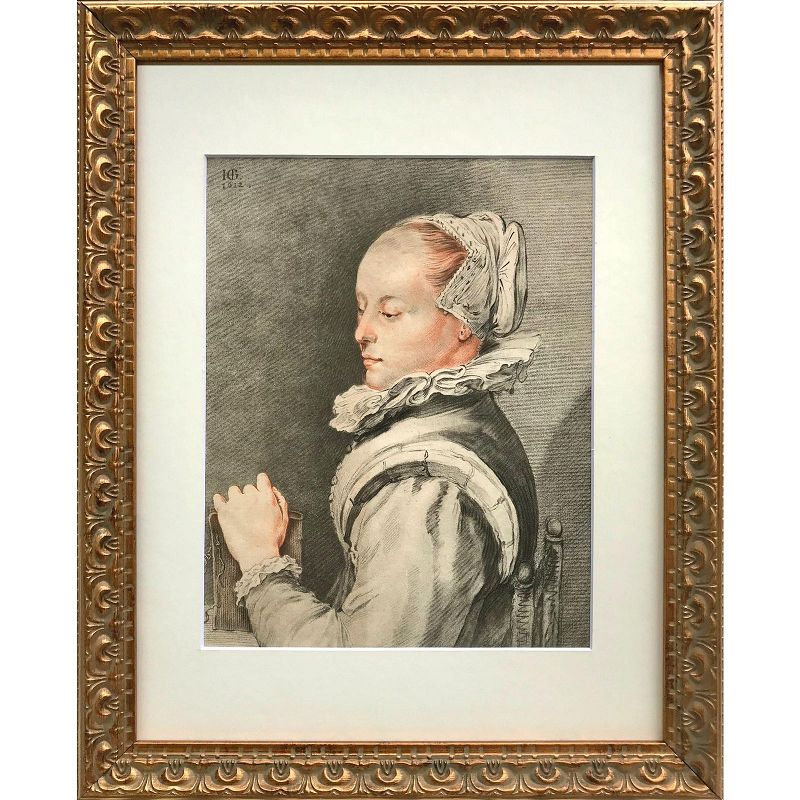 Rare 18th C Dutch Color Engraving of a Woman by Van Amstel
