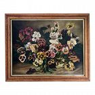 Antique 19th Century Early American Floral Still Life Oil Painting