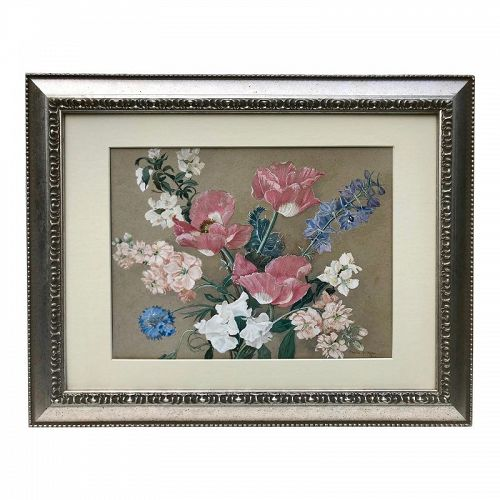 Vintage Original Floral Gouache Painting by Moore 1943