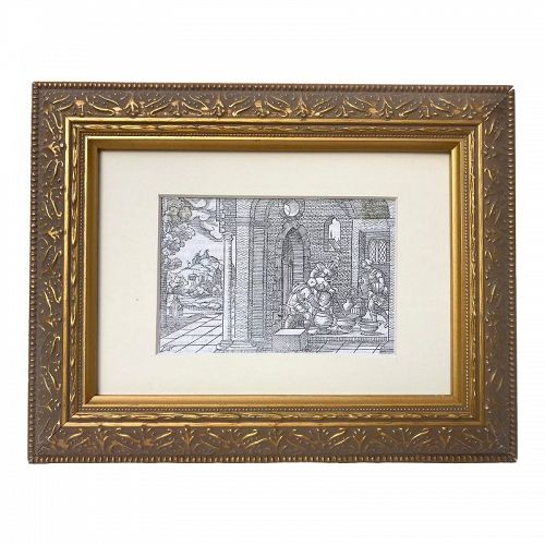 Old Master 16th Century Woodcut Engraving Print by Virgil Solis C.1550