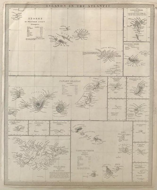Antique Map of Islands in the Atlantic by Baldwin and Cradock 1836