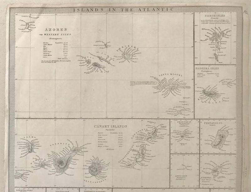 Antique Map of Islands in the Atlantic by Baldwin and Cradock 1836