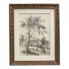 Antique 19th Century French Drawing of Landscape Cottage C.1847