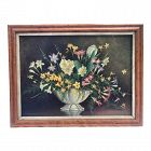 Antique Early American Oil Painting Still Life of Flowers Owen Lunnon