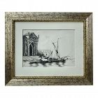 Antique Original Ink Drawing of Venice 19th c.Santa Maria della Salute