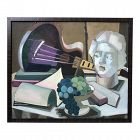 American Mid Century Modern Cubist Oil Painting C.1950