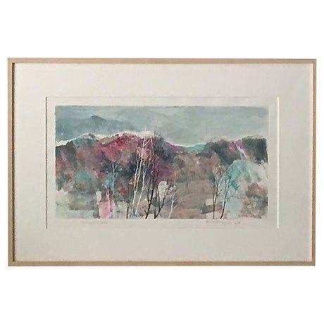 Modernist Landscape Oil by Katherine Chan Liu 1988