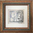 Vintage WPA Era Expressionist Drawing Blacksmith by Harold C. Davies