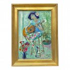 Oil Painting French Actress Pascale Ogier & Guitar Paris Marie Ogier