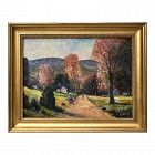 American Impressionist Oil Painting Fall Landscape A. Watts