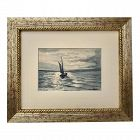 Vintage Maritime American Watercolor of Sailing Ship L. F. Waldon 1940