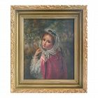 Antique Portrait Young Woman Oil Painting by W. Banta 1886 New York