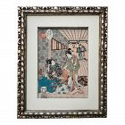Antique Japanese Woodblock Print Geisha's by Kunisada