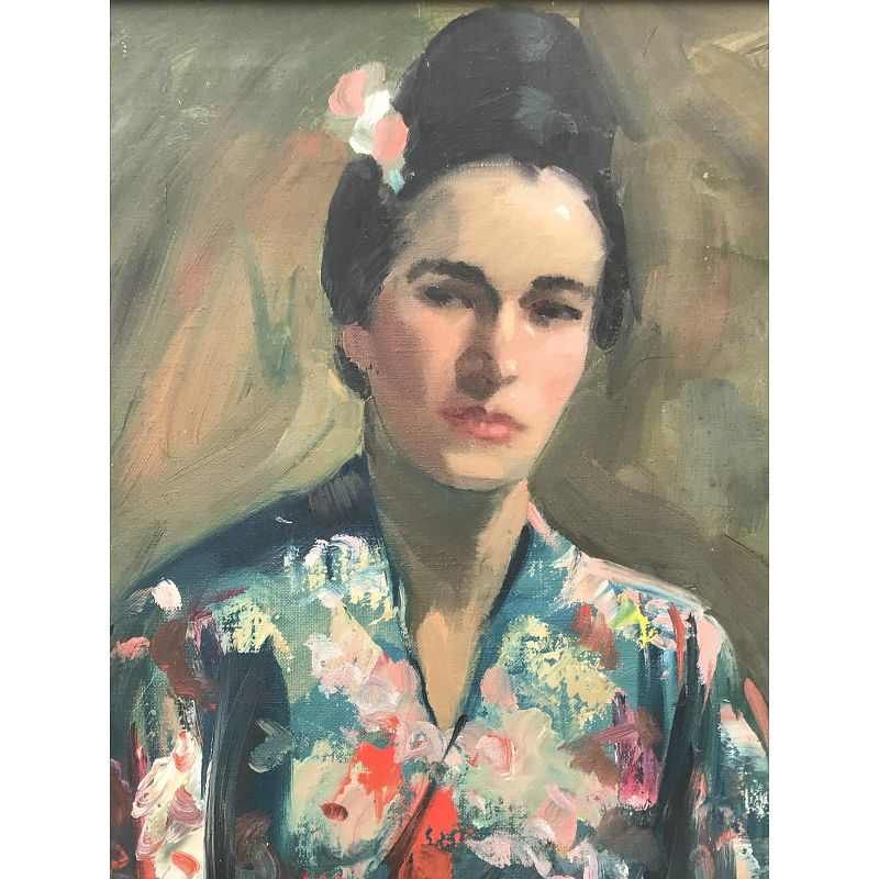 Portrait of a Woman in Kimono by Harry Barton Vintage Oil Painting