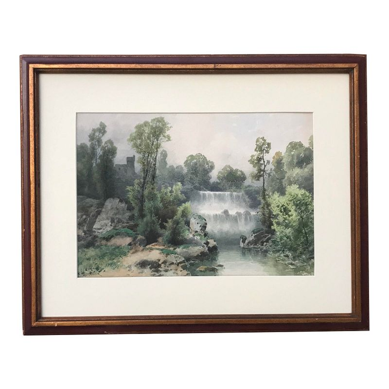 Antique Italian Watercolor Landscape by Vincent Blatter