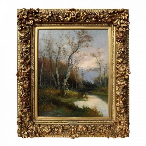 Antique Original Oil Painting French Landscape by T. Walter 19th c.