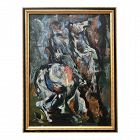 Abstract Oil Painting Horse and Rider by Rex Ashlock