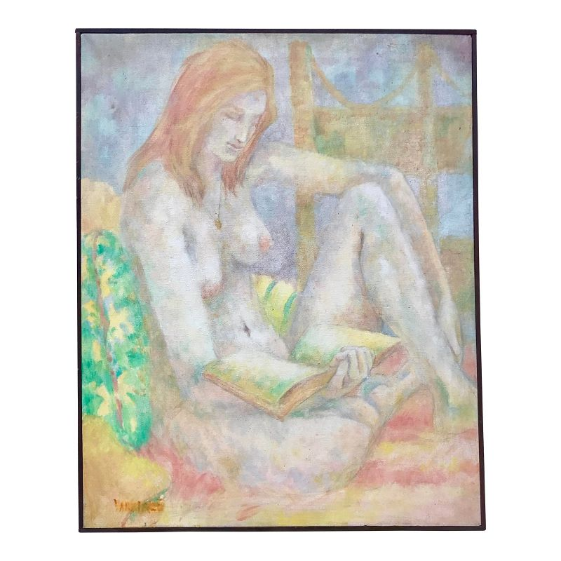 Vintage Original Oil Painting Nude Woman Reading by Wanda Varriale