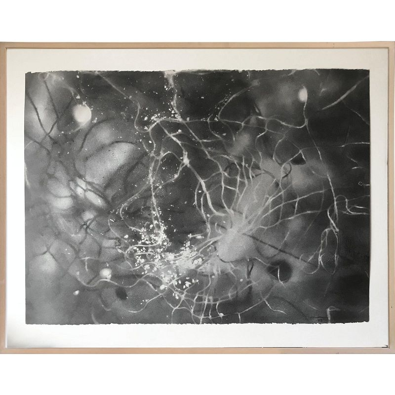 Modernist Charcoal Abstract Cosmic Drawing 2003