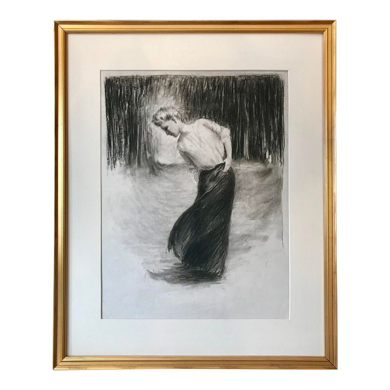 Original Vintage Art Nouveau Drawing of a Lady by Charles Sheldon
