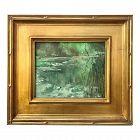 Vintage American Impressionist Landscape of a Lily Pond  Harry Barton