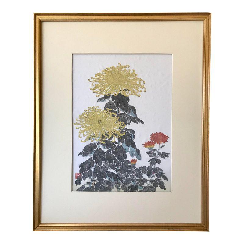 Vintage Japanese Woodblock Print on Silk by Nisaburo Ito