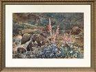 Joseph Addey Fox Gloves English Watercolor Landscape Painting 19th c.