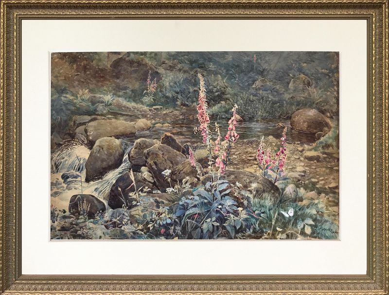 Joseph Addey Fox Gloves English Watercolor Landscape Painting 19th c.