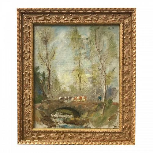 Antique French Impressionist Landscape Oil Painting by Theodora Moore
