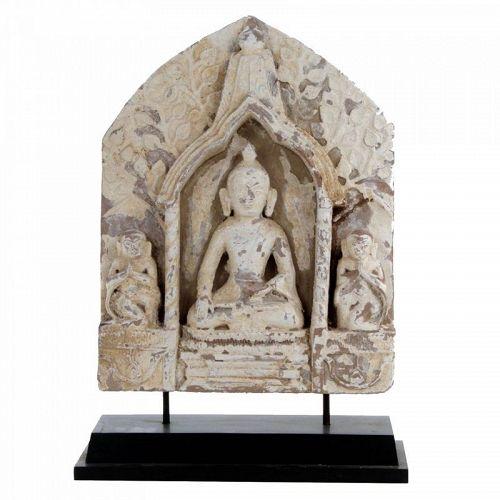 Antique Stone Seated Burmese Buddha With Monkey Bodhisattvas