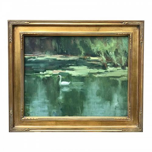 Vintage American Impressionist Oil Painting Swan on Lake by Harry Bart
