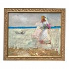 Impressionist Oil Painting Girl Flowers on the Beach by Harry Barton
