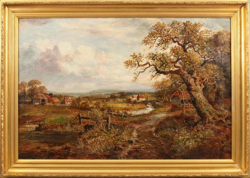 Antique European Village Landscape Oil Painting Colin Campbell Cooper