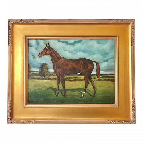 Vintage Portrait of a Thoroughbred Race Horse Original Oil Painting