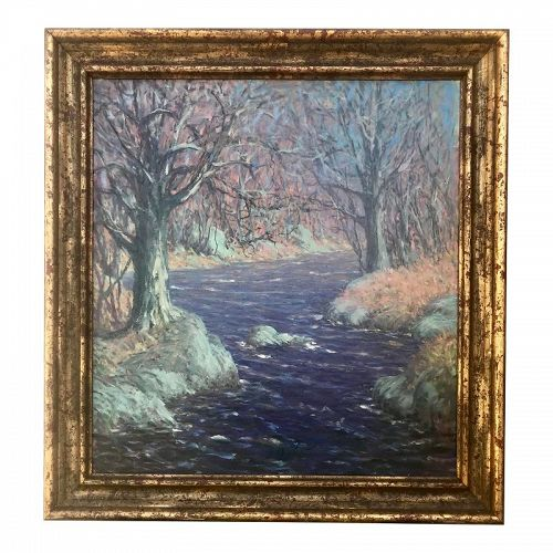 Oil Painting Wooded Stream by Harry Leslie Hoffman Old Lyme School Art