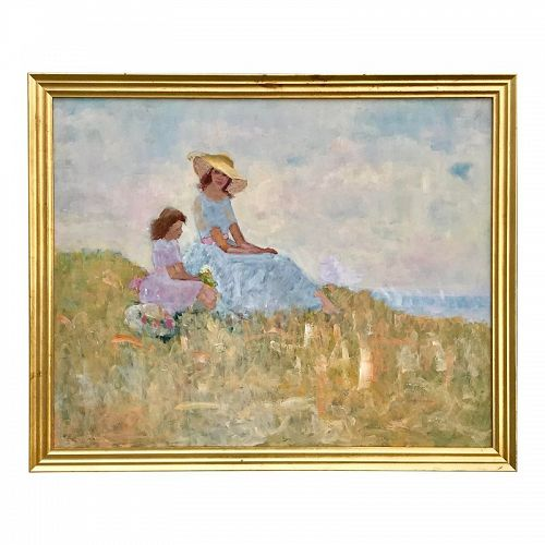 Impressionist Oil Painting Mother Child Mast Cove Maine Harry Barton
