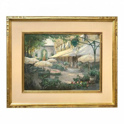 Spanish Courtyard Pastel Painting by Albert Sheldon Pennoyer
