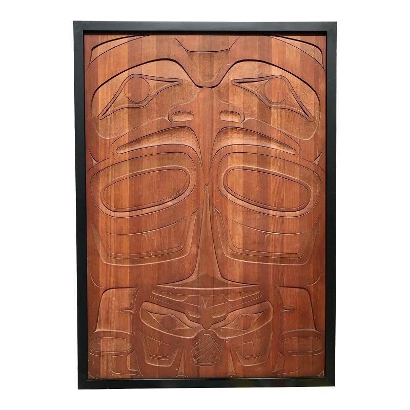 Vintage Haida Indian Carved Northwest Coast Cedar Panel Eagle Bear