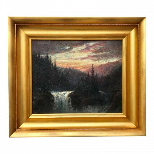 Antique Oil Painting Mountain Sunset by William Keith California Art