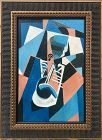 Vintage Mid Century Cubist Abstract Jazz Trumpet Player by J. Ruggles