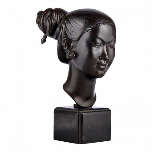 Bronze Bust of a Young Asian Woman by Nguyen Thanh Le Vietnam
