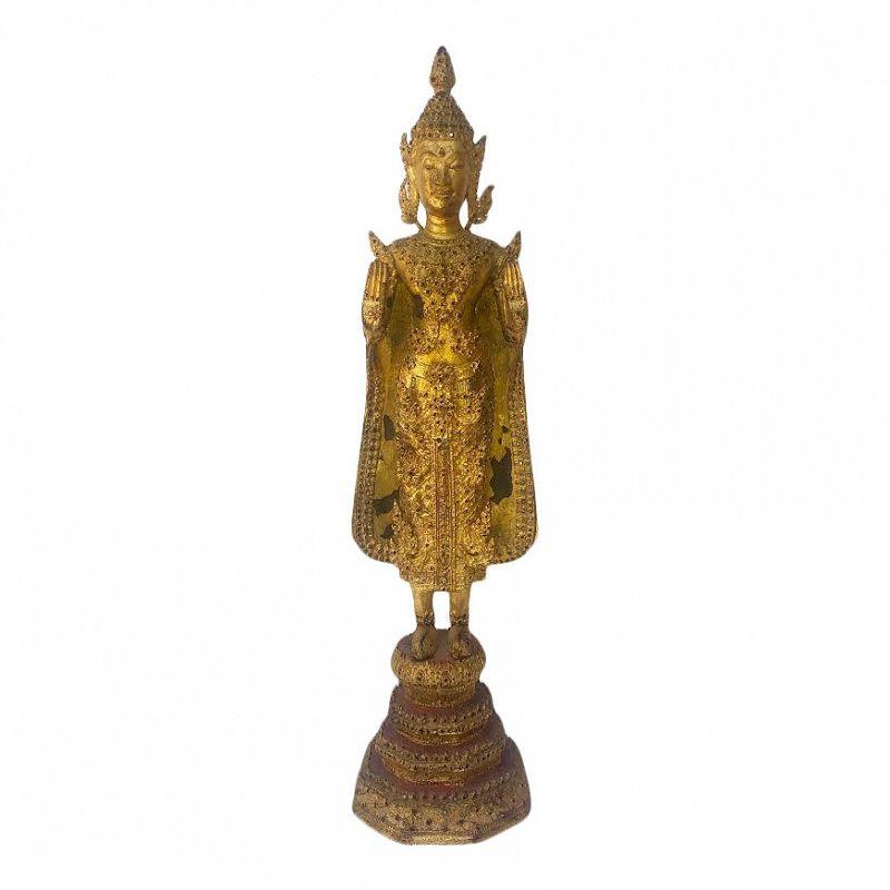 Antique Gilt Bronze Standing Buddha Thailand 19th Century Rattanakosin