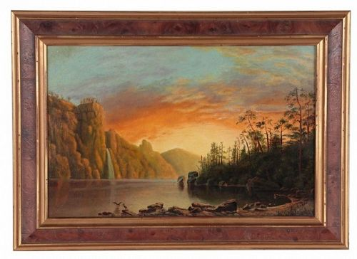 Antique American Hudson River School Illuminist Landscape Oil Painting