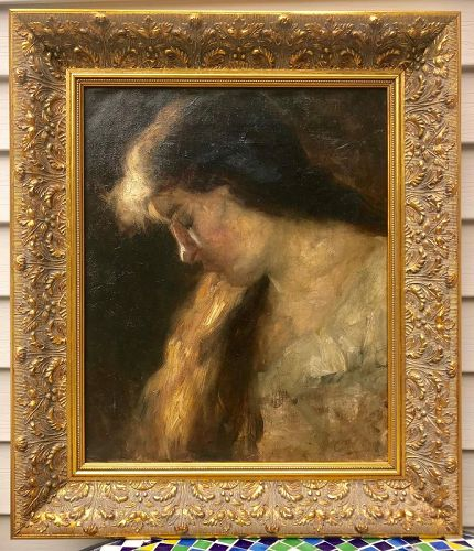 American Impressionist Oil Painting Portrait of a Woman by C F Keller